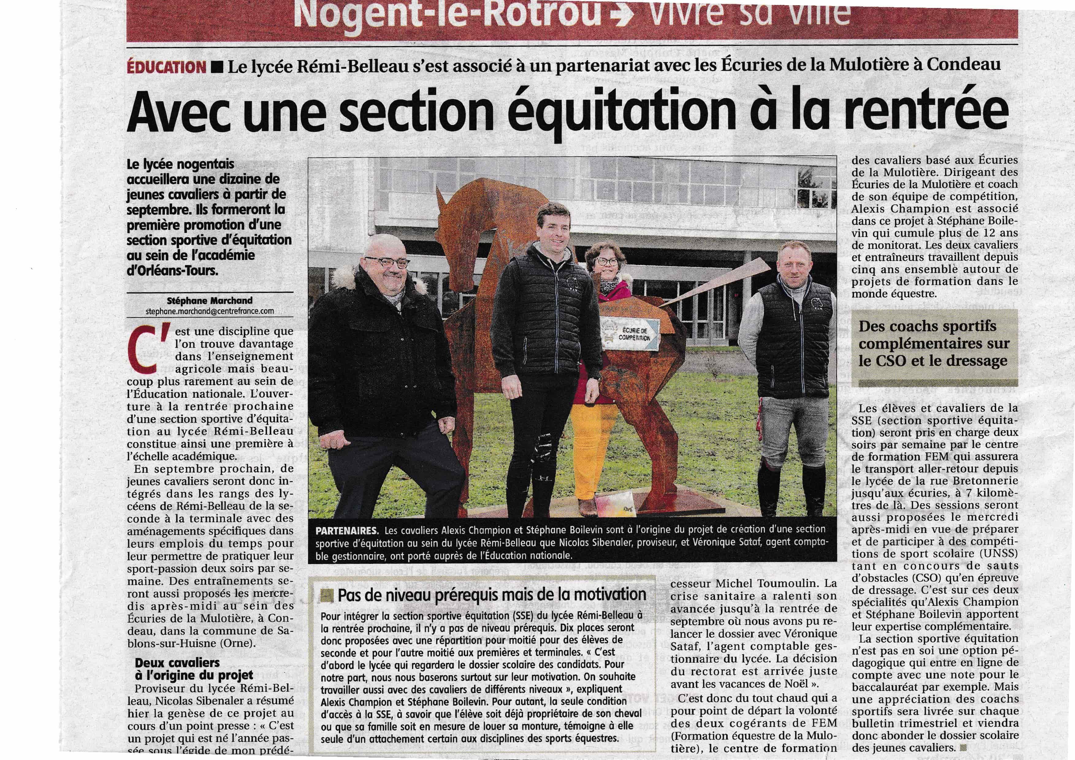une section équitation au lycée Remi Belleau de Nogent le Rotrou