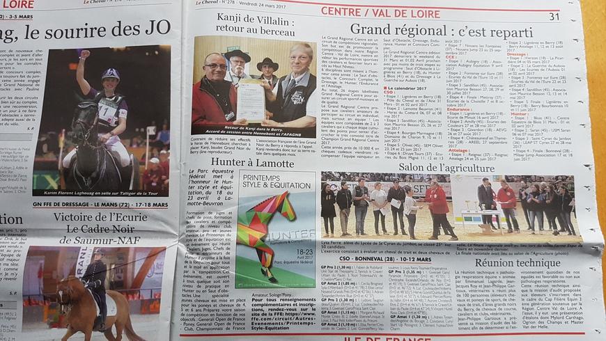 """Article dans """"Le cheval"""", le SIA, la réunion technique à Lignières"""