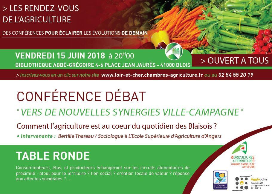 LES RDV DE L'AGRICULTURE : Vers de nouvelles synergies ville campagnes (conférence débat CA41)